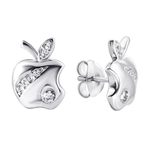 Серебряные пуссеты Яблочки с фианитами(1EA81015)