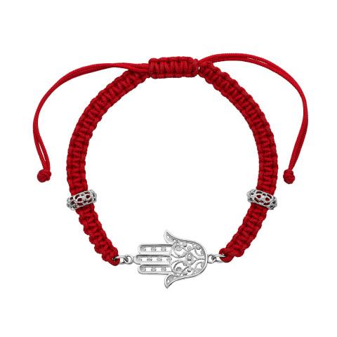 Браслет Хамса (Рука Фатимы) из текстиля с серебряными вставками (07200-125-1/12/0)