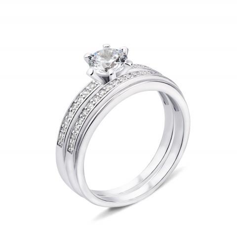 Наборное двойное серебряное кольцо с фианитами (GR0025-R)
