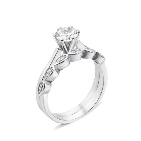 Наборное двойное серебряное кольцо с фианитами (DR0444-R/12/1)