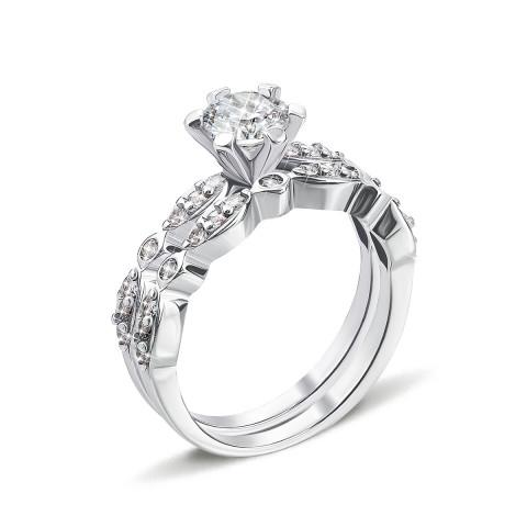 Наборное двойное серебряное кольцо с фианитами (GR0027-R/12/1)