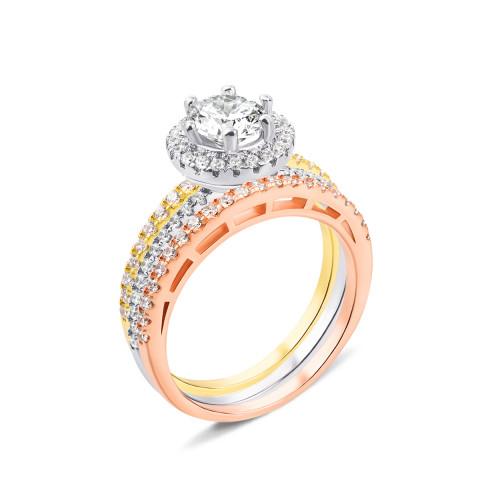 Наборное тройное серебряное кольцо с фианитами и позолотой (DR0495/пз-R)