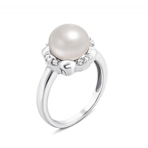 Серебряное кольцо с жемчугом и фианитами (PSS0028R)