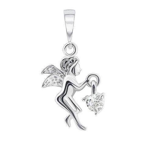 Серебряная подвеска Ангел с фианитом (П2Ф/134)