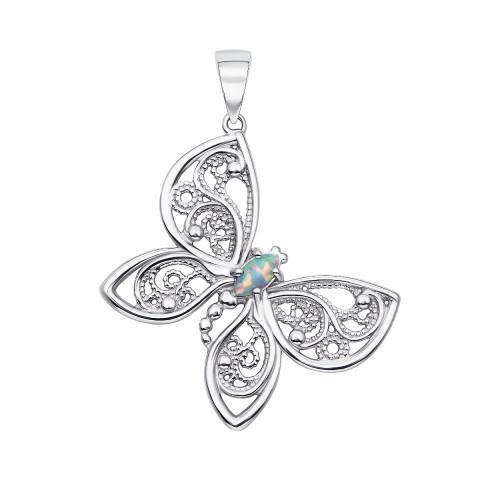 Серебряная подвеска «Бабочка» с опалом (70147/12/1/370 (с70147/опал))
