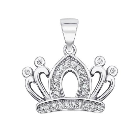 Серебряная подвеска «Корона» с фианитами (PP970-P/12/1)