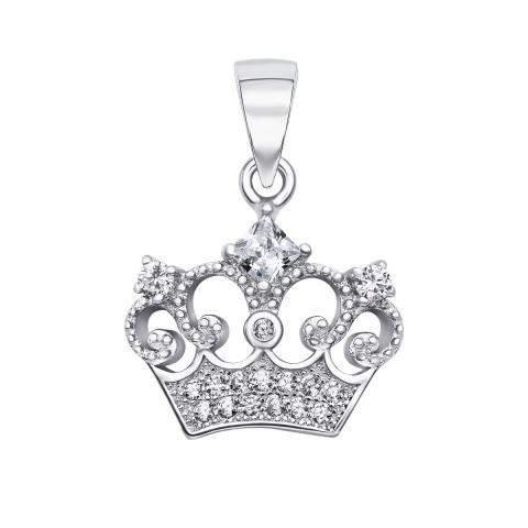 Серебряная подвеска Корона с фианитами (SA8862-P/12/1)