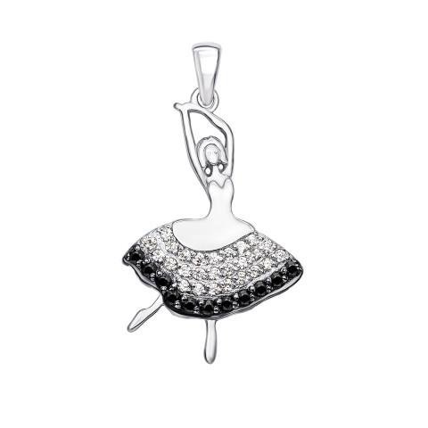 Серебряная подвеска «Балерина» с фианитами (70287/12/1/440)