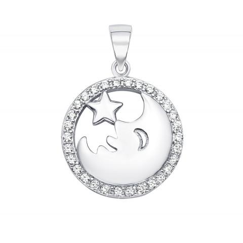 Серебряная подвеска «Звезда и месяц» с фианитами (ES0163EP-P)