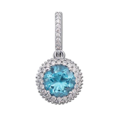 Серебряная подвеска с голубым кварцем и фианитами (3628р)