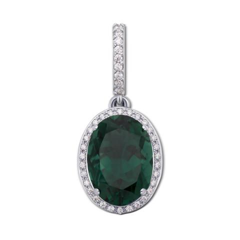 Серебряная подвеска с зеленым кварцем и фианитами (3681р)