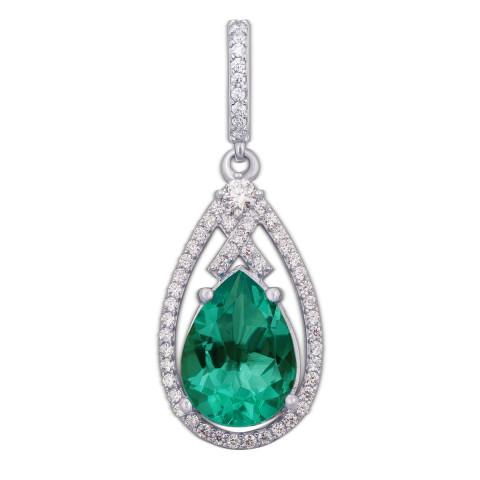Серебряная подвеска с зеленым кварцем и фианитами (3689р)
