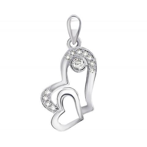 Серебряная подвеска «Сердце» с фианитами (1PE65899)