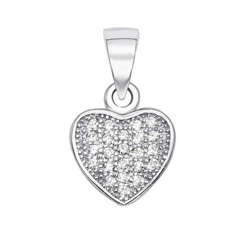 Серебряная подвеска «Сердце» с фианитами (PSS0698-P/12/1)