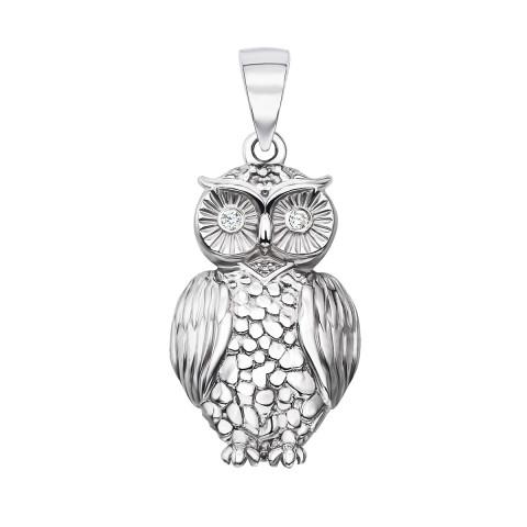 Серебряная подвеска «Сова» с фианитами (с70304 (70304/12/1/13))