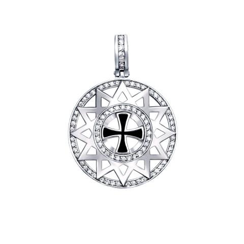Серебряная подвеска «Звезда Эрцгаммы» с фианитами и эмалью (с31506)