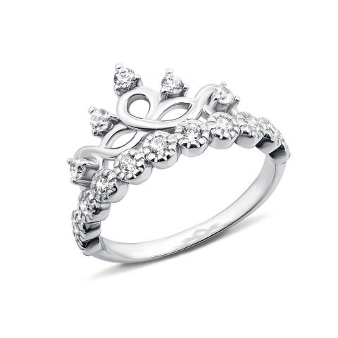 Серебряное кольцо «Корона» с фианитами (LR1043-R)