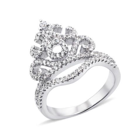 Серебряное кольцо «Корона» с фианитами (PRS1686-R)
