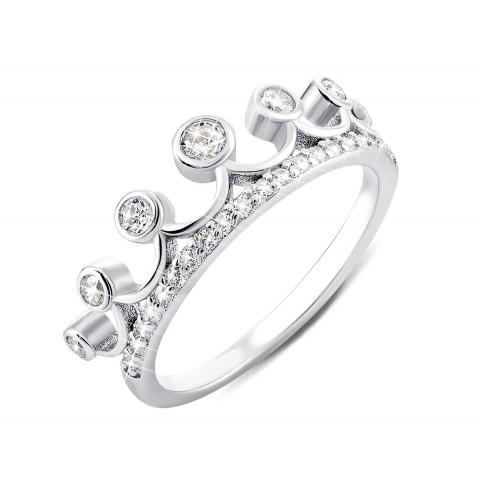 Серебряное кольцо Корона с фианитами (TR13115)