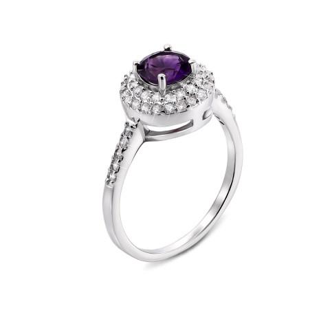 Серебряное кольцо с аметистом и фианитами (Тд0012/ам-R)