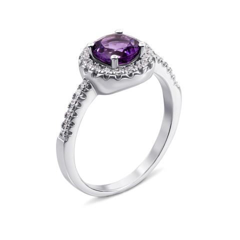 Серебряное кольцо с аметистом и фианитами (Тд0016/ам-R)