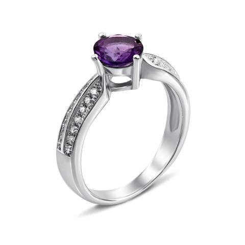 Серебряное кольцо с аметистом и фианитами (Тд0018/ам-R)