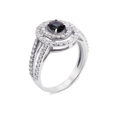 Серебряное кольцо с гидротермальным сапфиром и фианитами (1582/9р)