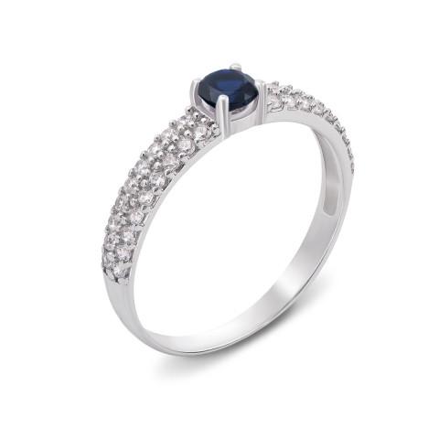 Серебряное кольцо с гидротермальным сапфиром и фианитами (1637/9р)