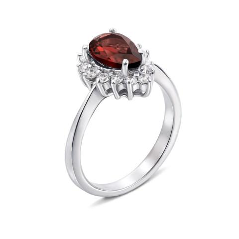 Серебряное кольцо с гранатом и фианитами (Тд0003/гр-R)