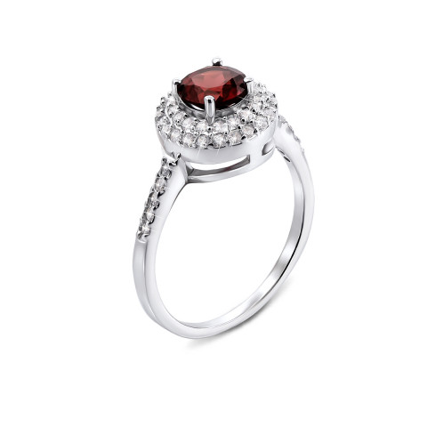 Серебряное кольцо с гранатом и фианитами (Тд0012/гр-R)