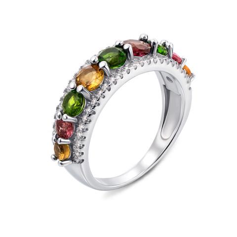 Серебряное кольцо с миксом полудрагоценных камней (Тд0025/тр mix-R)