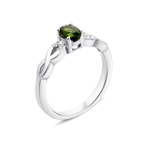 Серебряное кольцо с хромдиопсидом и фианитами (Тд0032-R/12/5525)