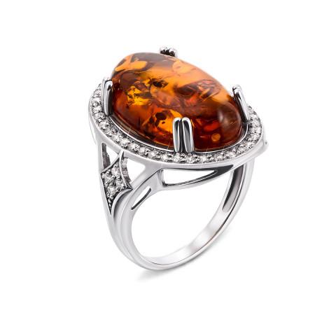 Серебряное кольцо с янтарем и фианитами (00737/12/1/557)