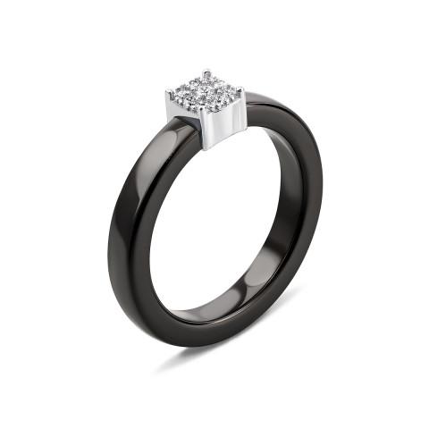 Серебряное кольцо с керамикой и фианитами (К2ФК/1013-16)