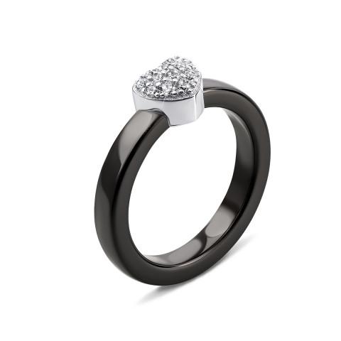 Серебряное кольцо с керамикой и фианитами (КК2ФК/1006-16)