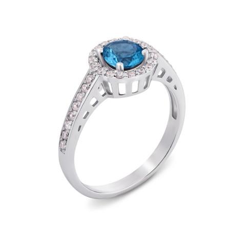 Серебряное кольцо с лондон-топазом и фианитами (1691/9р)