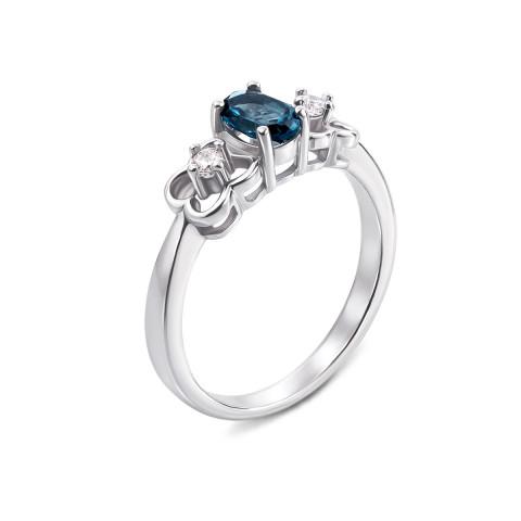 Серебряное кольцо с лондон-топазом и фианитами (Тд0009/топld-R)