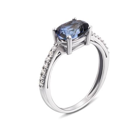 Серебряное кольцо с мистик топазом и фианитами (AZ01004/мiстик)