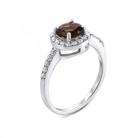 Серебряное кольцо с раухтопазом и фианитами (Тд0008/раух-R)