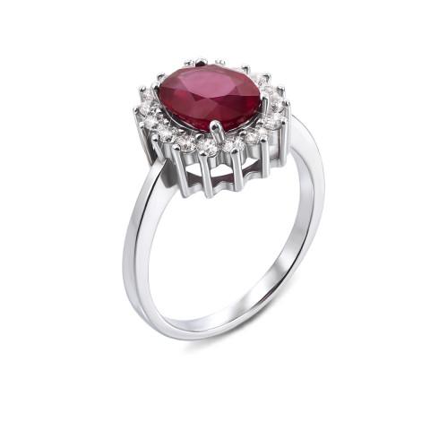 Серебряное кольцо с рубином и фианитами (Тд0031/руб-R)