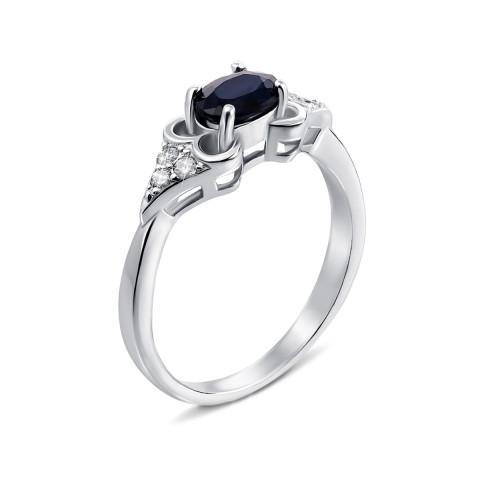 Серебряное кольцо с сапфиром и фианитами (Тд0014/сап-R)