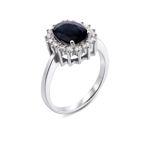 Серебряное кольцо с сапфиром и фианитами (Тд0031/сап-R)