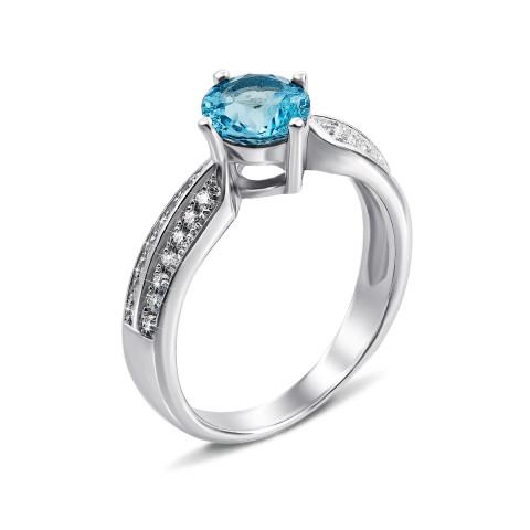 Серебряное кольцо с топазом swiss и фианитами (Тд0018/топsw-R)
