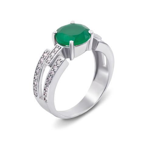 Серебряное кольцо с зеленым агатом и фианитами (1612/9р)