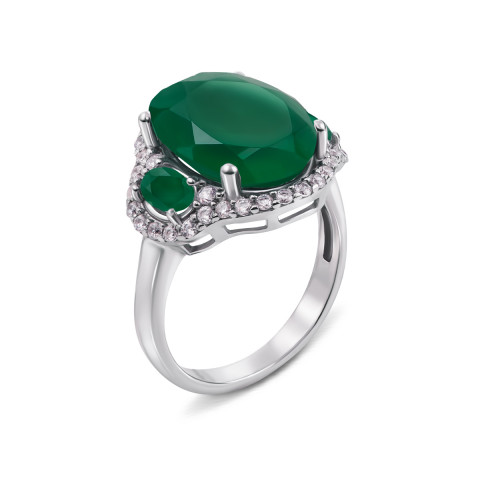 Серебряное кольцо с зеленым агатом и фианитами (1628/9р)