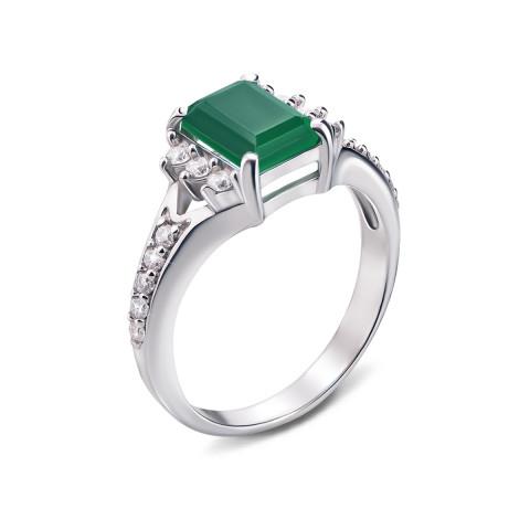 Серебряное кольцо с зеленым агатом и фианитами (1656/9р)