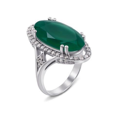 Серебряное кольцо с зеленым агатом и фианитами (1688/9р)