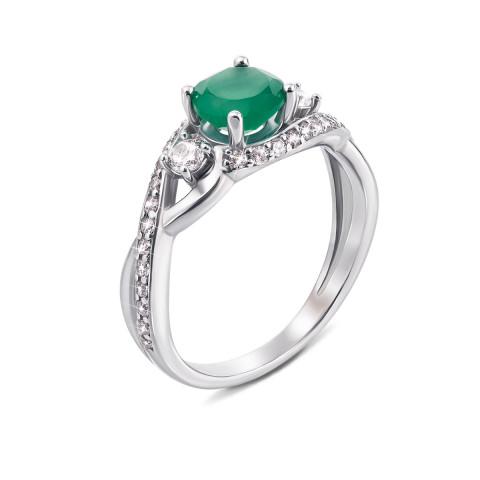 Серебряное кольцо с зеленым агатом и фианитами (1883/9р)