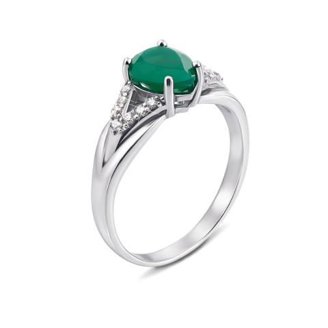 Серебряное кольцо с зеленым агатом и фианитами (1937/9р)