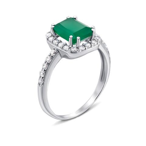 Серебряное кольцо с зеленым агатом и фианитами (1977/9р)